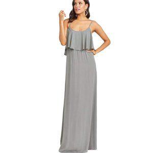 Show Me Your MuMu Caitlin Medium Charcoal Grey Ruffle Maxi Bridesmaid Dress
